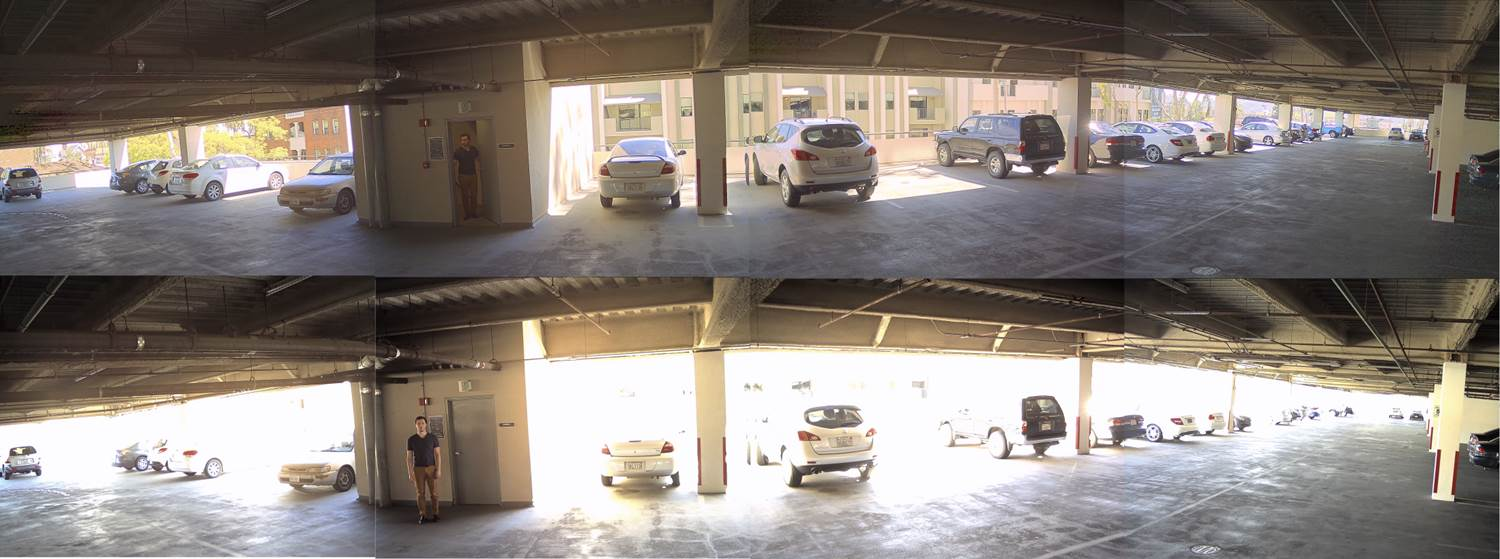 AV12186DN Garage shot with and without WDR